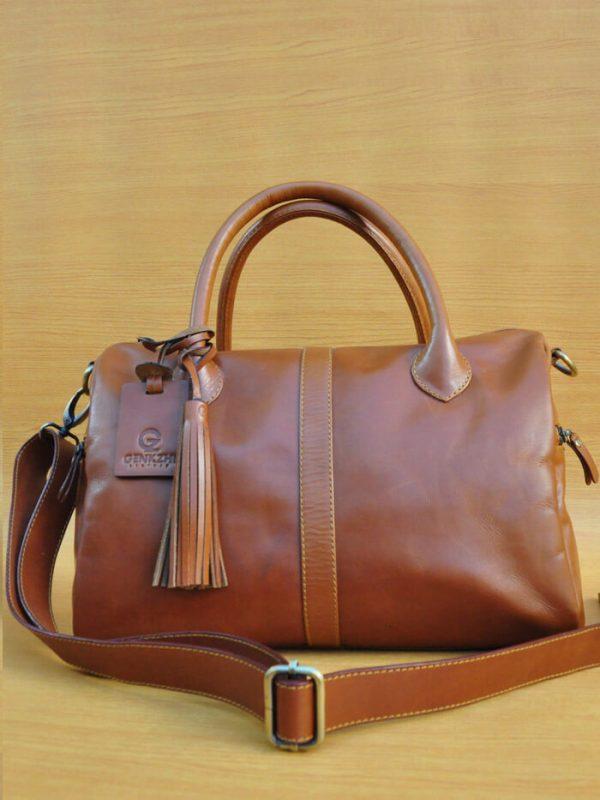 Erzhi Bag - Brown GL3 Jual Tas Kulit Asli Jogja Genkzhi Leather