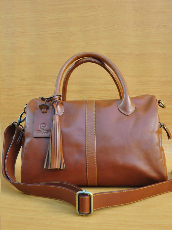 Erzhi Bag - Brown GL3 Jual Tas Kulit Asli Jogja Genkzhi Leather