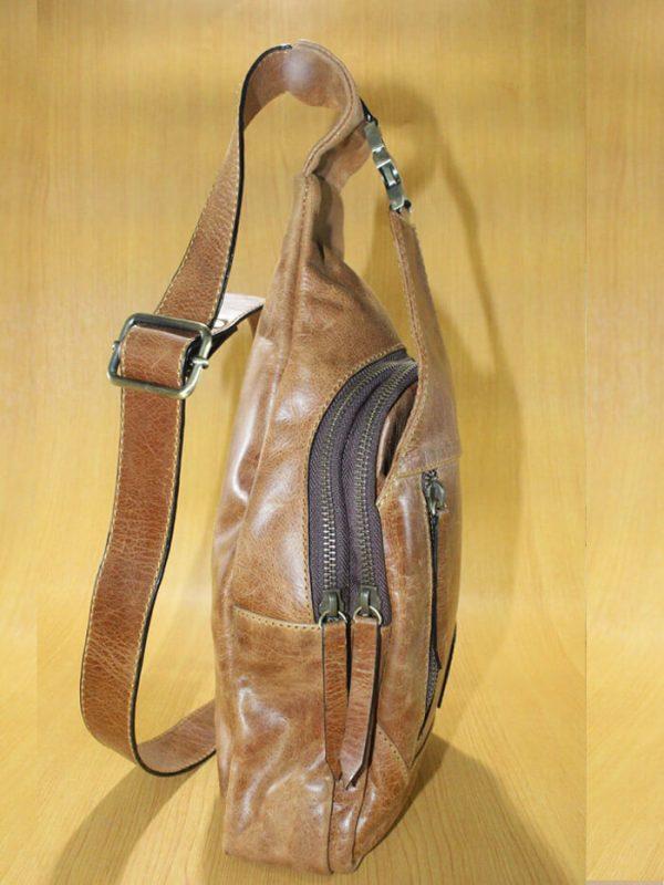 Leas Men Bag - Natural Brown Jual Tas Kulit Asli Jogja Genkzhi Leather