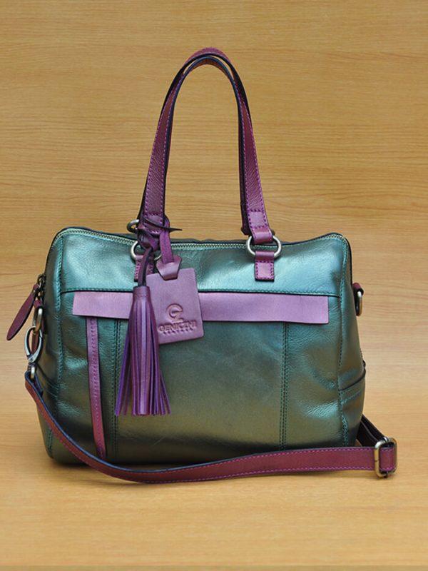 Mollysa Bag - Metallic Green GL6 Jual Tas Kulit Asli Jogja Genkzhi Leather