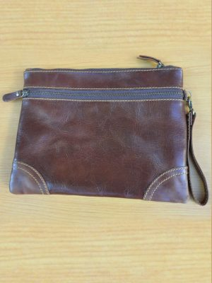 Pouch Ona Bag - GL23 Dark Brown Jual Tas Kulit Asli Jogja Genkzhi Leather
